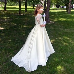 Girl's wedding or confirmation hand-sewn dress